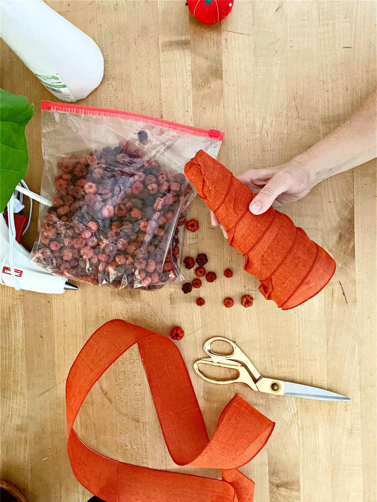 orange ribbon wrapped styrofoam
