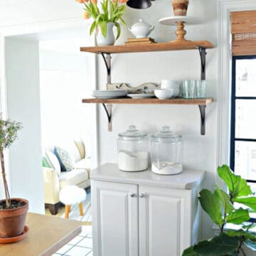 kitchen cabinet and shelves