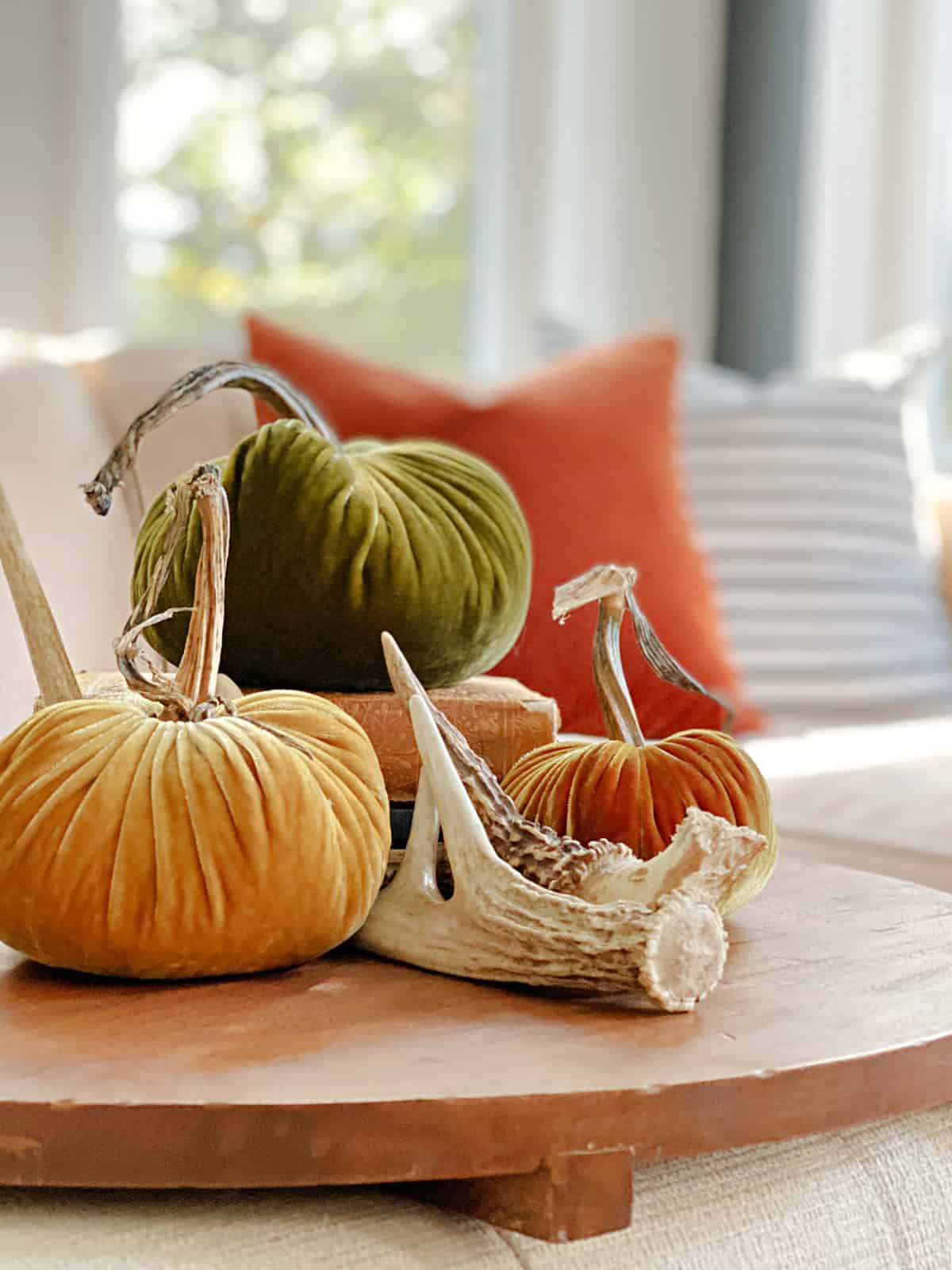 fall vignette with pumpkins