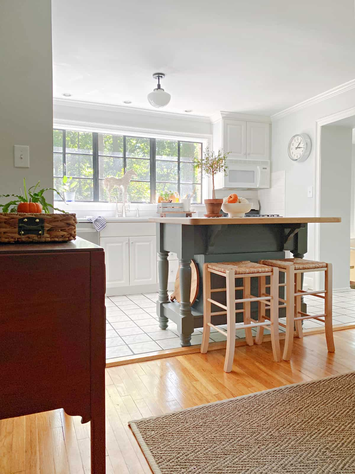 view in to kitchen with island