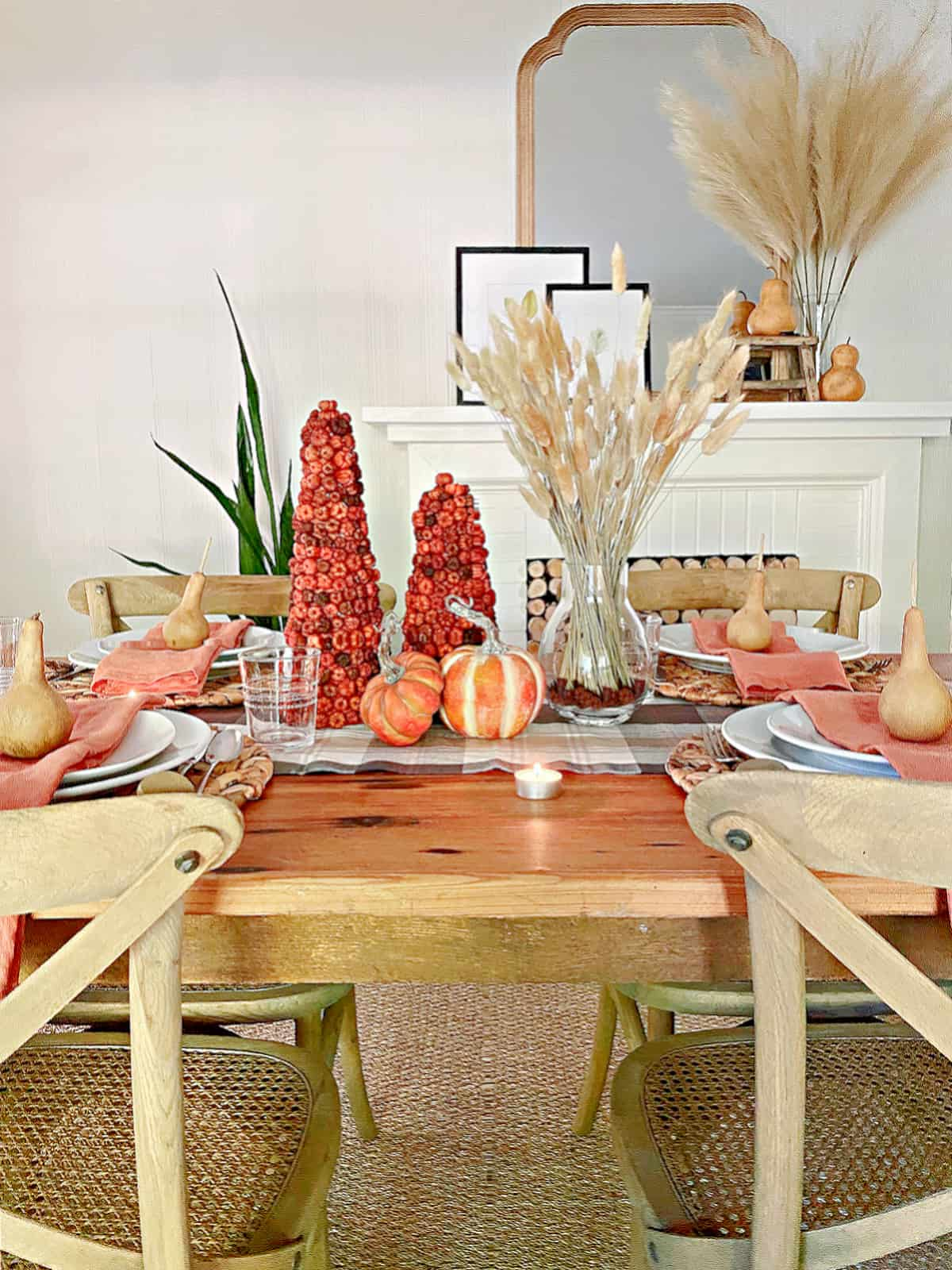 fall table setting with centerpiece