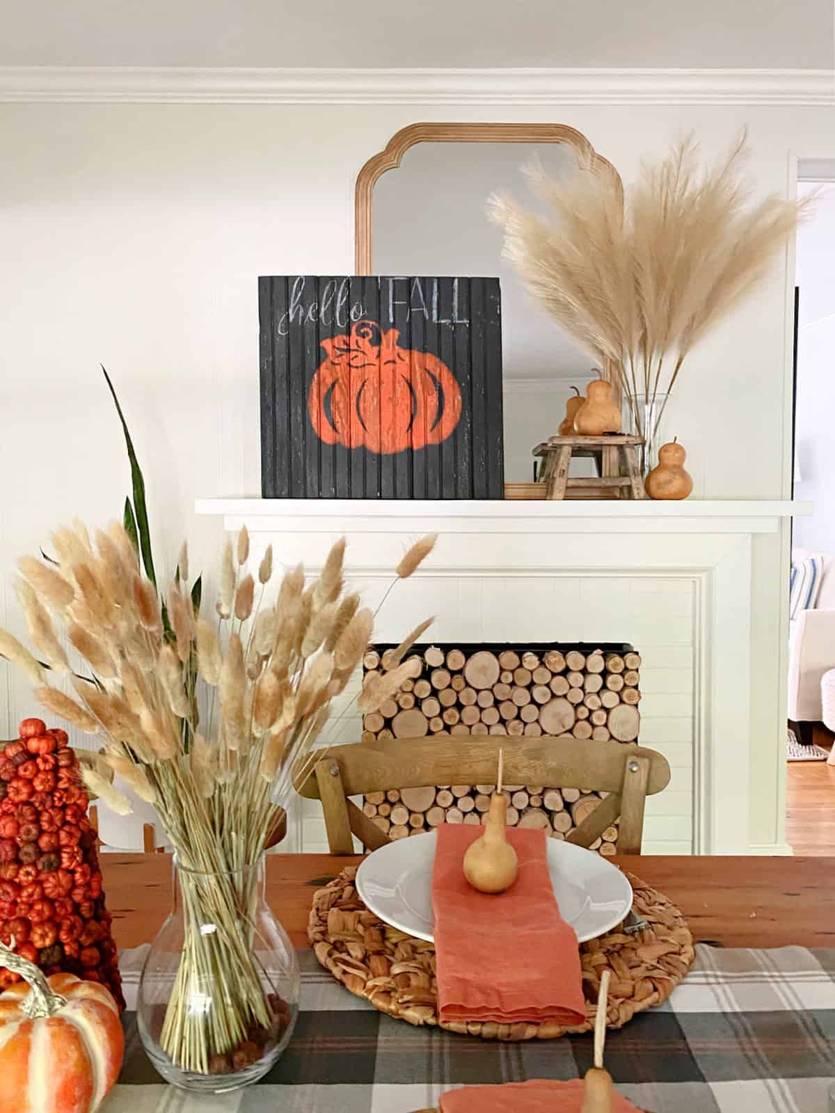 mantle decorated for fall